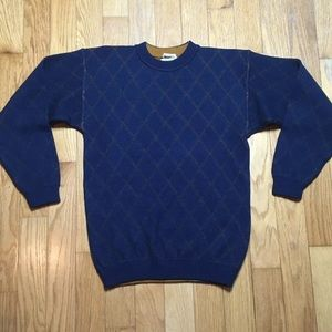 Ports International Blue Check Grid Wool Sweater